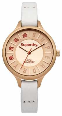 Superdry Womens White Leather Strap Rose Gold Dial SYL169W