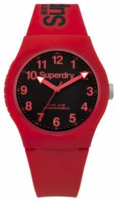 Superdry Mens Urban Red Strap Black Dial SYG164RB