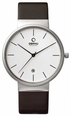 Obaku Mens Brown Leather Strap White Dial V153GDCIRN
