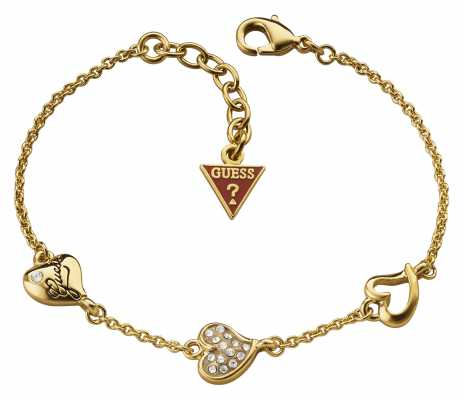 Guess Womens Triple Heart Station Gold Plate UBB71333
