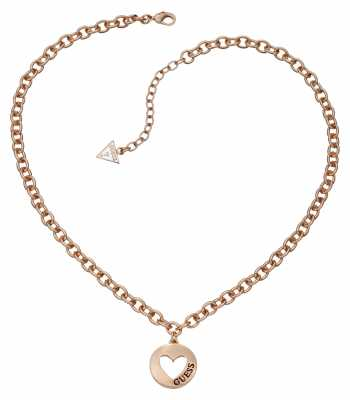 Guess Womens G Girl Heart Coin Pendant Rose Gold UBN51432