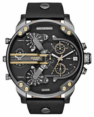 Diesel Mens Mr Daddy 2.0 Black Leather Chronograph DZ7348