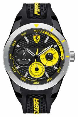 Scuderia Ferrari Red Rev T Black Silicone Black Yellow Dial 0830257