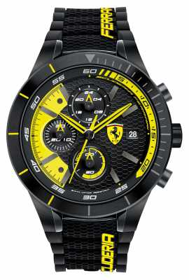 Scuderia Ferrari Mens Red Rev Evo, Black/ Yellow Chrono 0830261