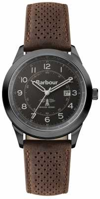 Barbour Mens Walker Brown Leather Strap Black Dial BB017GNBR