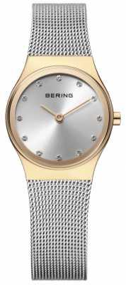 Bering Womens Stainless Steel Mesh Stone Set 12924-001
