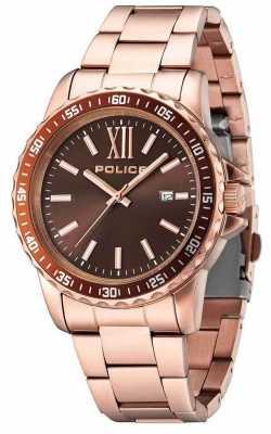 Police Mens Las Vages Rose Gold Bracelet Brown Dial 14494JSR/12M
