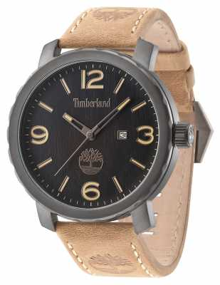 Timberland Mens Pinkerton Brown Leather Strap Black Dial 14399XSU/02