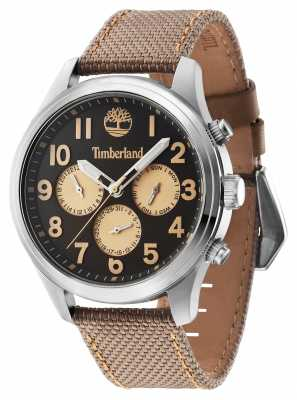 Timberland Rollins Brown Leather Strap Black Dial 14477JS/61