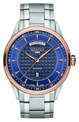 Roamer Mens Superior Rose Gold, Blue Dial 508293494550