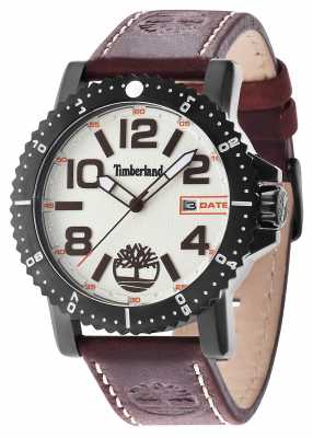 Timberland Mens Hyland Brown Leather Strap Beige Dial 14479JSB/07