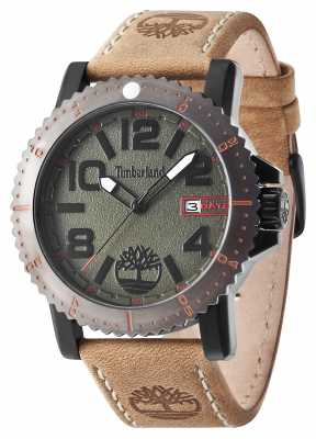 Timberland Mens Hyland Brown Leather Strap Green Dial 14479JSBU/19