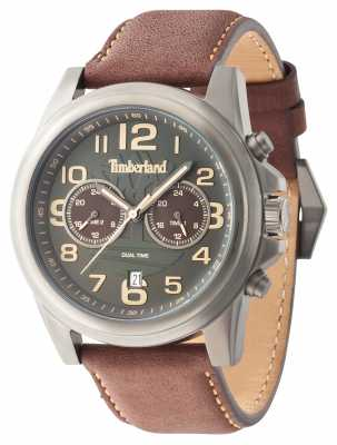 Timberland Mens Pickett Brown Leather Strap Grey Dail 14518JSU/61A