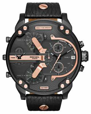 Diesel Mens Mr Daddy 2.0 Black Leather Rose Gold DZ7350