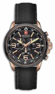 Swiss Military Hanowa Mens Arrow Black Leather Strap Chronograph 6-4224.09.007