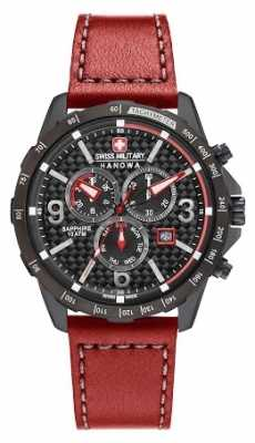 Swiss Military Hanowa Mens Ace Red Leather Black Dial Chrono 6-4251.13.007