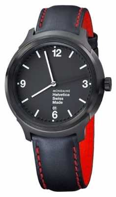 Mondaine Mens Helvetica NY Edition Black Leather Strap MH1.B1221.LB