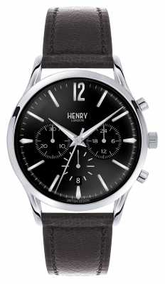 Henry London Edgware Black Leather Strap Chronograph HL41-CS-0023