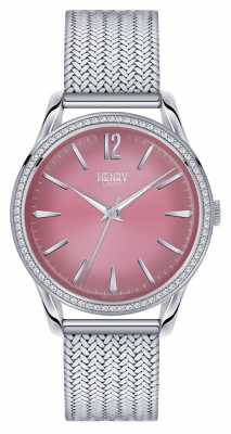 Henry London Hammersmith Stainless Steel Mesh Pink Dial HL39-SM-0065