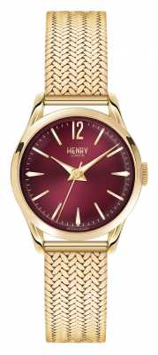 Henry London Holborn Gold Plated Mesh Deep Red Dial HL25-M-0058