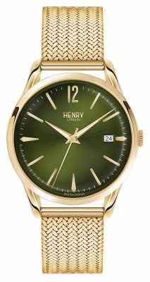 Henry London Chiswick Gold Plated Mesh Green Dial HL39-M-0102