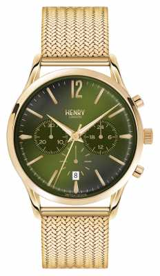 Henry London Chiswick Gold Plated Mesh Chronograph HL41-CM-0108
