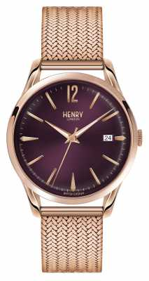 Henry London Hampstead Rose Gold Plated Mesh Purple Dial HL39-M-0078