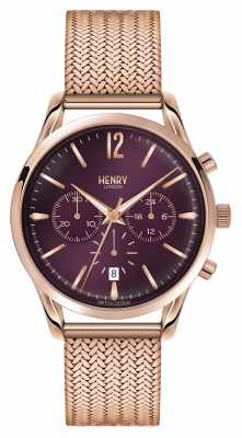 Henry London Hampstead Rose Gold Plated Mesh Chronograph HL39-CM-0088