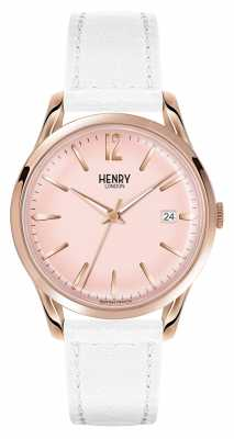 Henry London Pimlico White Leather Strap Champagne Dial HL39-S-0112