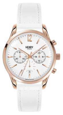 Henry London Pimlico White Leather Strap Chronograph HL39-CS-0126
