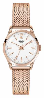 Henry London Richmond Rose Gold Plated Mesh White Dial HL25-M-0022