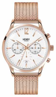 Henry London Richmond Rose Gold Plated Mesh Chronograph HL41-CM-0040