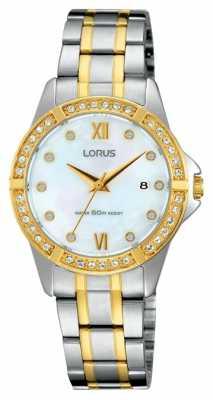 Lorus Womens Two Tone Stone Set White Dial RJ222BX9