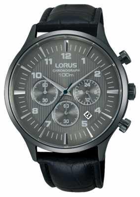 Lorus Mens Black Leather Strap Black Dial RT311FX9