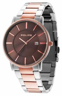 Police Mens London Two Tone Bracelet Grey Dial 14496JSTR/13M