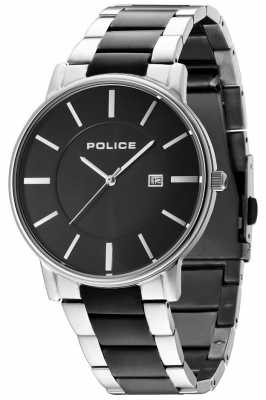 Police Mens london two tone armband zwarte wijzerplaat 14496JSTU/02M