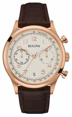 Bulova Mens Vintage Brown Leather Strap Chronograph 97B148