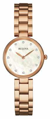 Bulova Ladies Rose Gold, Pearl Dial 97S111