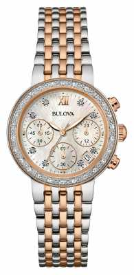 Bulova Ladies Two Tone, Diamond Set, Chronograph 98W215