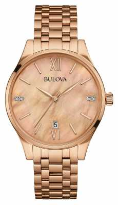 Bulova Womens Rose Gold Bracelet Mother Of Pearl 97S113