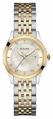 Bulova Ladies Two Tone, Diamond Set, Silver Dial 98S148