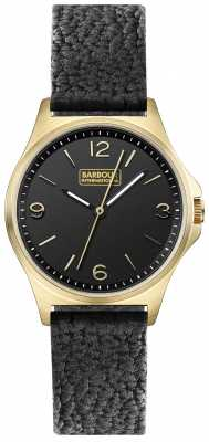 Barbour Womens Hebburn Black Leather Strap Black Dial BB007BKBK