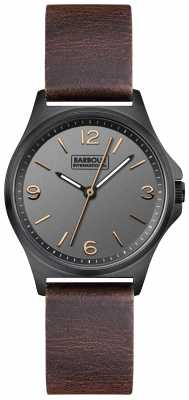 Barbour Womens Hebburn Brown Leather Strap Black Dial BB007CHBR