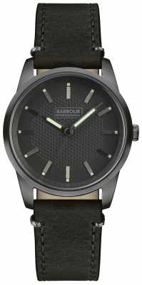 Barbour Mens Jarrow Black Leather Strap Black Dial BB026GNBK