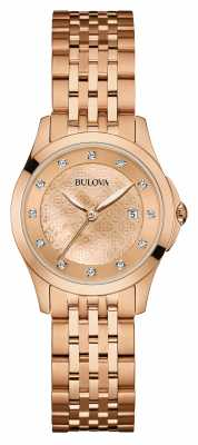 Bulova Womens Rose Gold Plate,  Diamond Set Dial 97S112