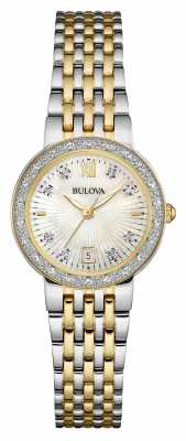 Bulova Ladies Two Tone, Diamond Set, Pearl Dial 98W211