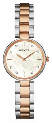 Bulova Womens Two Tone Mother Of Pearl Dial 98S147
