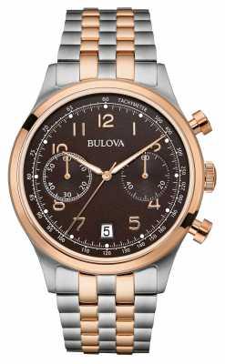 Bulova Mens Two Tone Bracelet Chronograph Black Dial 98B248