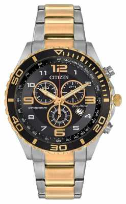Citizen Mens Eco-Drive TwoTone Tachymeter Chronograph AT2124-51E