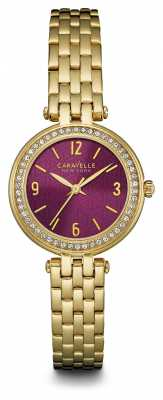 Caravelle New York Ladies Purple Dial T Bar Watch 44L174